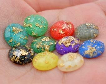 NEW~12MM Gold Foil Resin Cabochon-Gold Leaf 12mm Faceted Resin Cabochons-Glitter Cabochons-AB Resin Cabs-DIY 12mm Bezel Earrings-10 Color