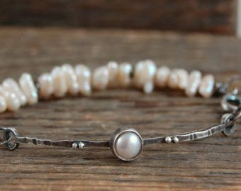 SALE 15% off !! - use the coupon code: SALE15  keshi pearls silver bracelet, keishi pearls bracelet