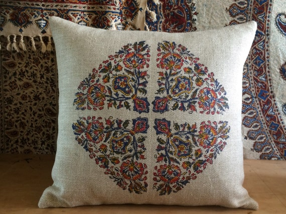 block printed flower design | sofa cushion | farm house pillow | linen pillow | modern red pillow | case dresses|xmas for her | pillow case