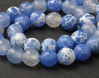 Fire agate facted Beads, Full Strand 15 inch, Round blue agate Stone, Gemstones Beads, 4mm 6mm 8mm 10mm 12mm - B147