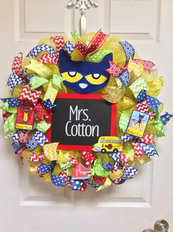 Pete The Cat Wreath Classroom Wreath School Wreath Teacher