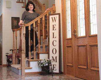 Rustic Welcome Sign Tall Sign Front Porch Decor Foyer Sign Welcome Sign Entryway Large Welcome Sign Magnolia Farms Farmhouse Joanna Gaines