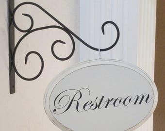 Bathroom Signs With Arrows restroom sign | etsy