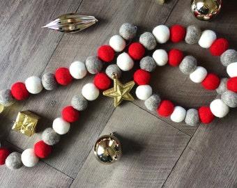 Christmas Felt Ball Garland 2.4 Meters  - Christmas Decorations - Festive Decor