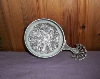 Vintage Norwegian Pewter Bowl With Handle Norway Eik Tinn Acanthus Rosemaling