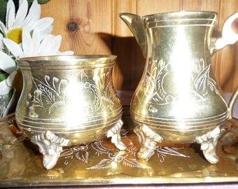 Vintage Silver Plated E.P.N.S England Coffee/Tea Set Tray Sugar Creamer Engraved
