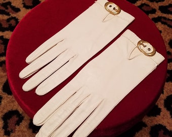 Clean, Vintage, 1960's, White, Leather, Gloves, New/Old