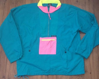 Vintage White Sierra Windbreaker Crazy Color Scheme Vibrant Jacket Zipper Size L