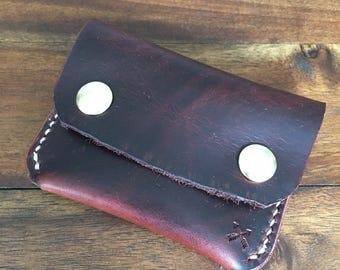 Handmade - Full Grain Leather - Snap Wallet - Brown - EDC - Minimalist - Card Holder - Wallet