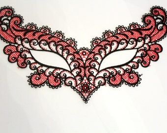 Swiss embroidery: lace applique black/red