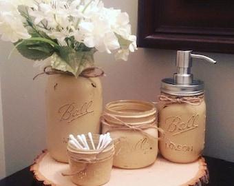 4pc Beige Mason Jar Bathroom Set