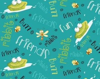 Teal Frogs with Words from the Frogland Friends Collection by Nidhi Wadhwa for Henry Glass Fabrics