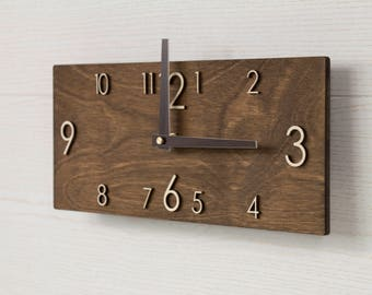 Wooden Wall Clock - Modern Wall Clock - Wood Wall Clock - Rustic Wall Clock - Modern Clock - Modern Clock Gift - Rustic Wall Decor