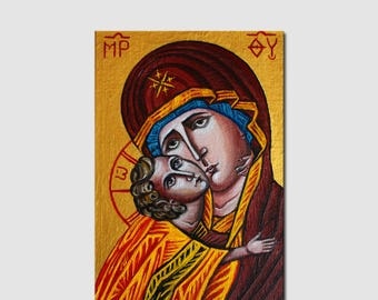 Virgin Mary Jesus Christ Byzantine icon Orthodox icon Oil painting on wood Mother of God with Child Hand-Painted Size4x6