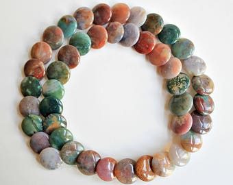 Natural Fancy Jasper Round Coin/ Button 12mm Loose Beads, Natural Gemstone Beads, Semi precious Gemstone Bead, Full Strands, Wholesale Beads