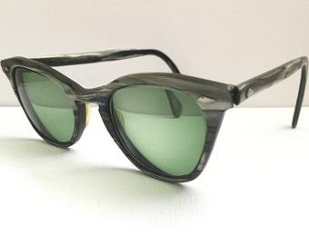Vtg Eyewear Cat Eye American Optical Sunglasses Retro Eyewear Secretary Glasses A/O Green Lenses Tortoiseshell
