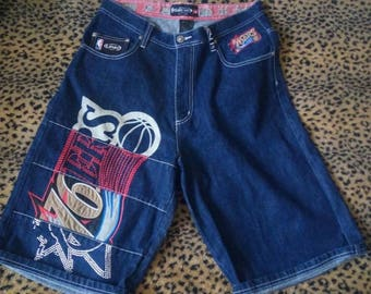 NBA shorts, vintage denim basketball shorts, Lakers Bulls Knicks hip-hop shorts 90s hip hop clothing, 1990s, gangsta rap,old school size W32