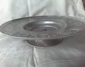 Hammered Aluminum , Lazy Susan, Hand Wrought by Wilson Specialtys Co. Brooklyn NY, Serving tray