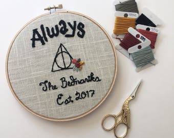 Wizarding wedding gift, wizarding couple, embroidery, handmade gift