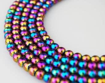 Beautiful Smooth Rainbow Plated Hematite Round Loose Beads. Size:4m/3m/2m 15.5'' Long Per Strand。R-S-HEM-0109