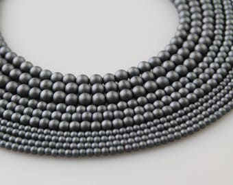 Matte Gray Hematite Round Loose Beads. Size: 2mm/3mm/4mm 15.5 '' Long Per Strand. R-S-HEM-0118