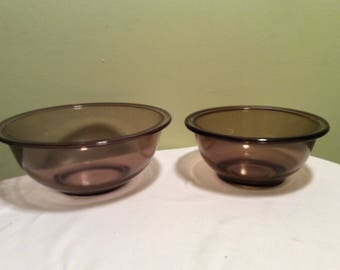 Vintage Pyrex Light Brown Fireside Amber Glass Mixing Bowls 322 and 323 Set of Two