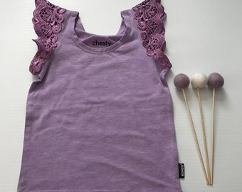 0- Flutter Sleeve Singlet- Purple