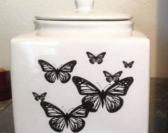 Vintage Neiman Marcus Canister Cookie Jar Monarch Butterfly White Black Square Shape Ceramic Retro Kitchen