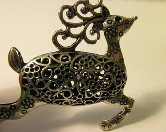 "Silver Tone Metal Hollow Reindeer Pendant, 2 1/4"""