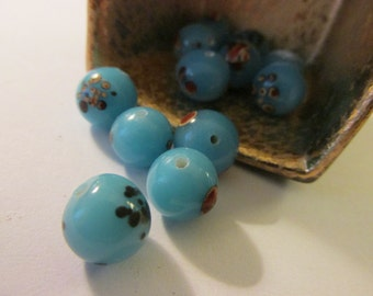 Aqua Blue Lampwork Glass Beads with Abstract Motif, 9mm, Set of 5
