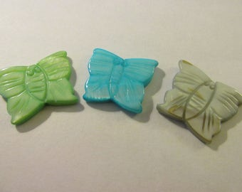 """Aqua Blue, Mint Green, and Gray Carved Mother-of-Pearl Shell Butterfly Bead Charms, 1"""", Set of 3"""