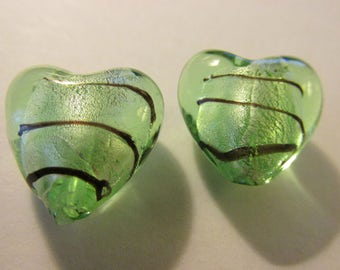 Icy Green Silver Foil Heart Glass Beads, 17mm, Set of 2