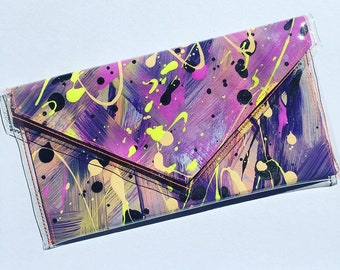 Handpainted Canvas Clutch