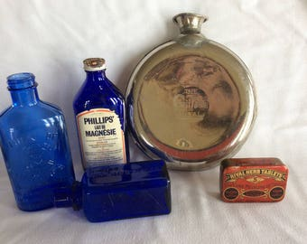 Antique Early 1908 Gillette advertising water flask gourd Schrader's and sons NY 1908