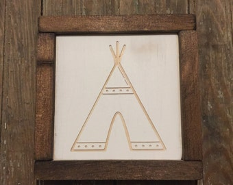 TeePee Mini Engraved Wood Sign
