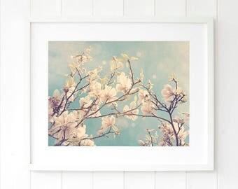 Magnolia wall decor, pastel floral decor, dreamy Magnolias photography pastel wall art prints, bedroom decor ideas, above the bed wall art
