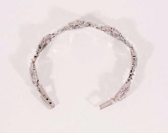 """14K White Gold c.1960s Diamond Filigree Bracelet, 15 grams, 6.25"""""""