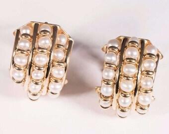 14K Yellow Gold Sea Pearl Earrings, 8.1 grams