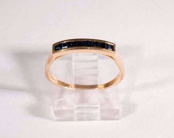 14K Yellow Gold Sapphire Ring, size 6.75