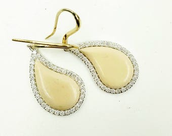 18K gold and silver earrings with Diamonds and mammoth ivory