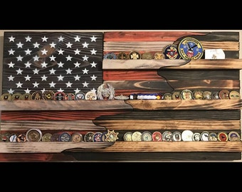 Large 50/50 American flag challenge coin holder