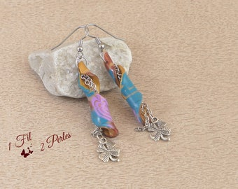 Earrings Pendants Tourbillon Pattern Roses Charm Clover Four Leaves - Clay Polymer - Lucky charm - Gift Chic Tendance