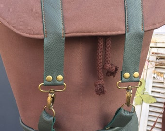 Backpack Leather Brown Green