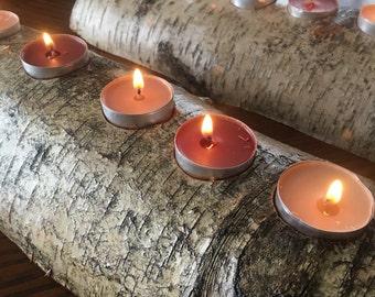 Birch Log Candle Display