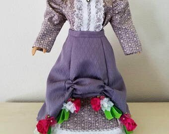 New lowered price!  3-piece Victorian bustle skirt with blouse and underskirt. Historical doll clothes for 18-inch dolls.  Ooak!