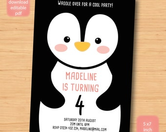 penguin, bird birthday invitation - SELF EDITABLE PDF - 5 x 7 inch Customisable Printable Birthday Party Invite - Instant Download