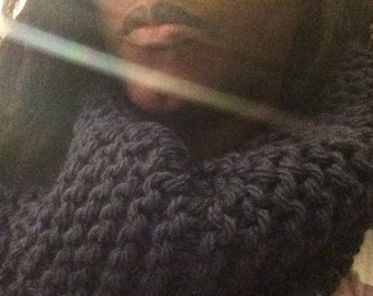 Lovely woollen knitted soft luxury Snood blue his / scarf xmas