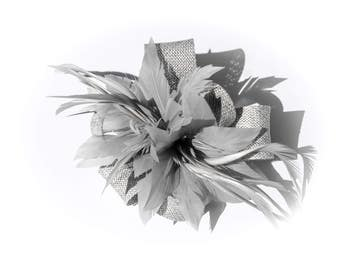 Silver Grey Classic Feather Flower Fascinator Clip and Brooch