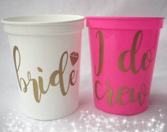 Bachelorette Party Favors - Bachelorette Stadium Cups - I Do Crew - Fun Wedding Favors - Personalized Bridesmaid Gift - Bachelorette Party