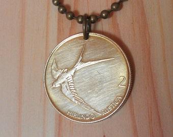 Slovenia bird coin pendant necklace charm, Slovenia 2 tolarja bird coin necklace, Barn swallow bird pendant, bird Coin jewerly